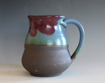 Pottery Mug, 13 oz, unique coffee mug, handmade cup, handthrown mug, stoneware mug, wheel thrown mug, ceramics and pottery