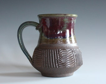 Pottery Mug, 16 oz, unique coffee mug, handmade cup, handthrown mug, stoneware mug, wheel thrown mug, ceramics and pottery