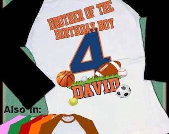Matching Brother etc ALL SPORTS Birthday shirt sports Raglan shirt - soccer shirt Personalized name football basketball baseball soccer