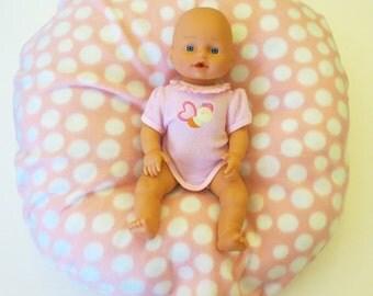 Boppy Lounge Pillow Cover:  Pink Polka Dots fleece