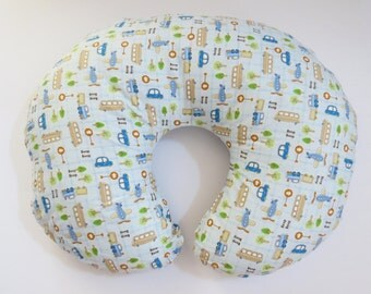 Boppy Nursing Pillow Cover:  Cars, Trucks, and Airplanes on Blue