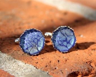 Handmade Custom Silver Filigree & Resin Cufflinks in Astral Blue - Husband, groom, anniversary, birthday, bride, wedding