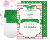 Girls Alligator Birthday Invitation, Alligator Party Invitation, Gator Birthday, Girls Birthday Invite, Girls Party Invite, Pink and Green
