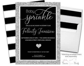 BABY SPRINKLE Invitation Printable or Printed - Black and Silver Baby Sprinkle Invite - Gender Neutral - Coed Shower Invitation - Modern