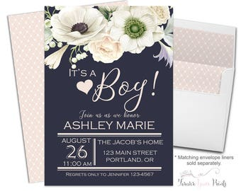 Boys Baby Shower Invitation, Floral Baby Shower Invite, Baby Shower Invitation Boy, It's A Boy, Navy Baby Shower, White Anemones, Printable