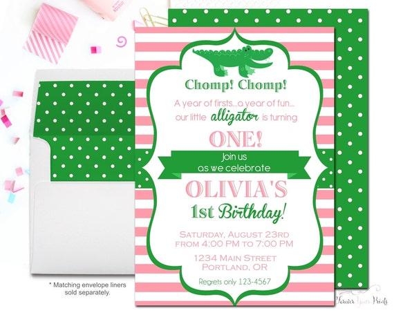 Girls Alligator Birthday Invitation - Alligator Party Invitation - Alligator Invite - Gator Birthday - Girl Birthday Invite - Girl Party
