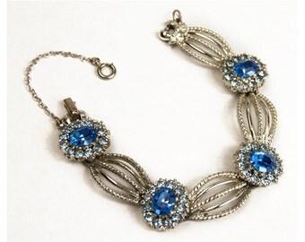 Vintage 60s Coro Craft 2 Tone Blue Rhinestones Open Work Silvertone Bracelet