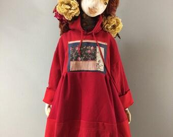 L/XL Cherry Red Patchwork Hoody Dress-Recycled Up Cycled Extra Long Sweatshirt-Raggandbone Dress-Sz Large-Extra Large