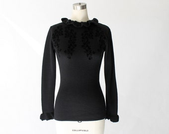 Vintage Kenzo Jungle Black Knit Top with Velvet Appliqué // Long Sleeve Pullover Sweater // XS