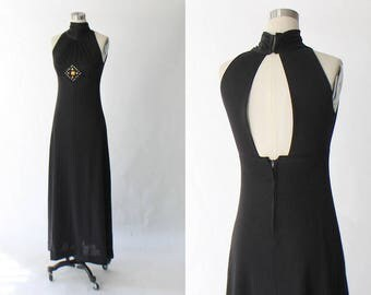 1970s Open Back Maxi Dress // 70s Vintage Embroidered Long Black High Neck Knit Dress // Small