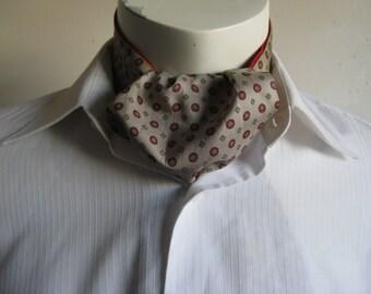 Vintage 1960s Taupe Ascot Red Medallion Gentlemans 60s Necktie