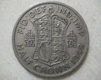 1948 United Kingdom, Half Crown Coin - George VI - Coat of arms of the United Kingdom