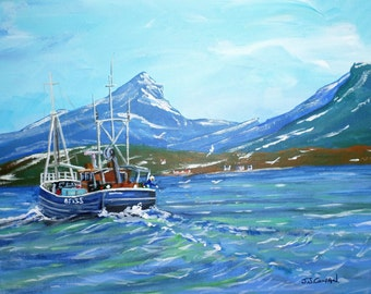 Nearly Home, a fishing boat on the West coast of Scotland, an Original Acrylic painting by John Cowan FREE SHIPPING