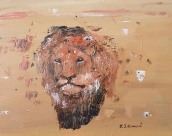 "Simba ""the Lion"", an Original Acrylic painting by John Cowan FREE SHIPPING"