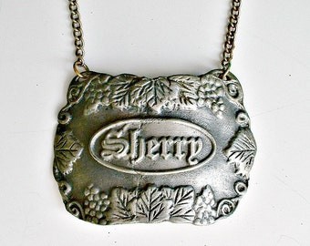 Pewter Sherry Decanter Tag Bacchus  Made In USA Liquor Bottle Label Tag Vintage