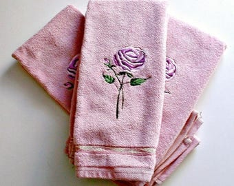 3 Vintage Towels Lavender Purple 100% Cotton Vintage  Floral with Leaves  Lot of 3 Made In USA Santens  Bath Hand Towels