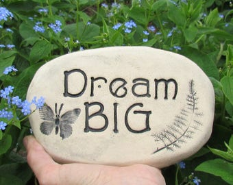 Dream BIG ~ inspirational garden stone. Butterfly garden decoration. Charming vintage style garden accent