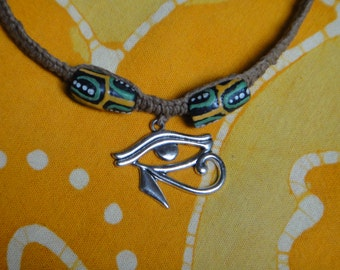 Eye of Horus Pendant African Bead Hemp Necklace Mens Jewelry Gift for Him Tribal Choker