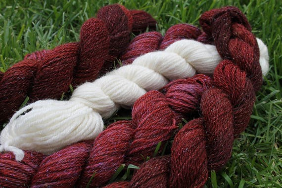 Merino Yarn Burgundy and White with Angelina- 5/ 50- 75 yards skeins   BARGAIN - Close Out Yarn- Knitting - Crochet- Doll Hair- Weaving