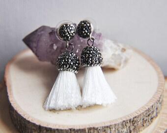 White Tassel Earrings, Small Tassel Earrings, Festival Earrings, Hippie Earrings, Gypsy Earrings, Pave Crystal Earrings, Bohemian Style