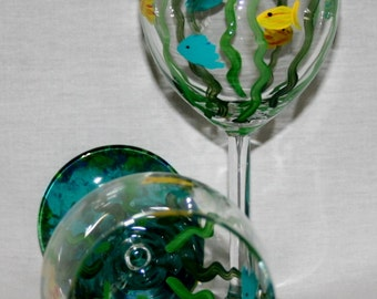fanciful fish hand painted wineglass