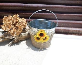Rustic Flower Girl Bucket, Basket, Sunflower Wedding Decor