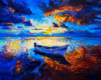 Sky Glows — PALETTE KNIFE Contemporary Seascape Modern Art Deco Oil Painting On Canvas 32 ''x24'' By Ivailo Nikolov