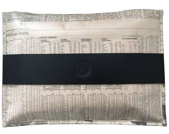 TIMES real newspaper bag with black leather detail, recycled material clutch with zip