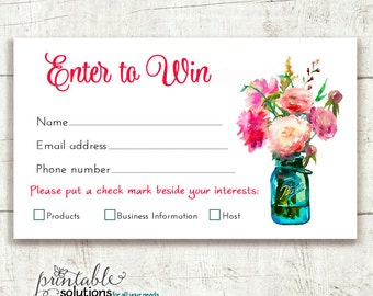Direct Sales Prize Entry Ticket - Raffle Card - WIN Form - Printable - Flower Bouquet pink - Instant Download