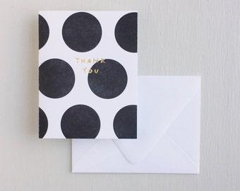 Letterpress Card- Dots: Thank You