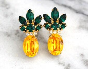 Pineapple Earrings, Pineapple Jewelry, Yellow Emerald Crystal Swarovski Earrings,Trending Jewelry, Swarovski Earrings, Pineapple Studs
