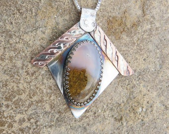 Plume Agate Sterling Silver Copper Pendant Necklace, Agate Jewelry, Silversmith Jewelry, Coppersmith, Mixed Metal Necklace