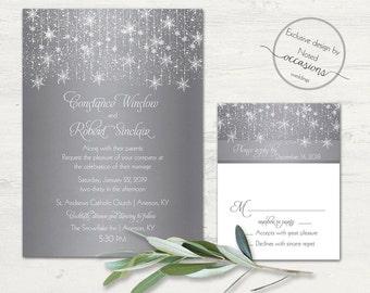 Winter wedding Invitations | Silver Snowflake Winter Wedding Invitations Dangling Lights and snowflakes | DIY Wedding Printable
