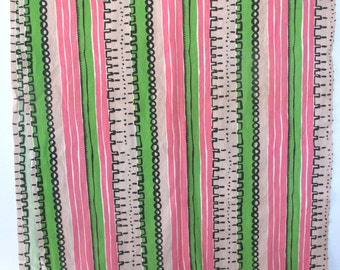 Vintage fabric/ preppy pink and green tribal print/ stripes