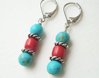 Southwest Dangle earrings, coral and turquoise jewelry, Boho chic style drop earrings