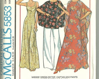 Womens Sewing Pattern McCalls 5853 for Dress Top Caftan Pants Sizes 10 to 14