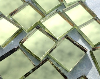 """Gold Mirror Glass Tiles for Mosaics - .6"""" x .6"""" Squares 1.5 cm - Set of 25"""