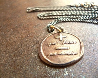 LOVE: More Than YESTERDAY, Less Than TOMORROW  -Wax Seal Jewelry French, Romantic Love Talisman Charm, Antiqued Bronze, Sterling Available
