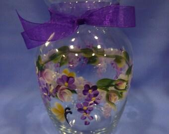 Hand Painted Glass Vase Pink Roses Purple Flowers Daisies Hydrangeas Butterflies