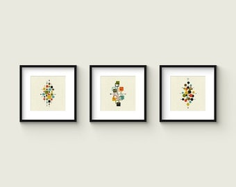 Collection of (3) Giclee Prints - Square Format - Mid Century Modern