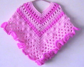 Toddler Girl Crochet Poncho Pattern Instant Download