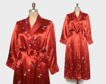 Vintage 60s SILK ROBE / 1960s Red Silk Floral Brocade Belted Dressing Gown M - L