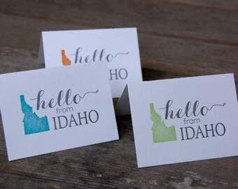 Hello from Idaho, letterpress printed greeting card eco friendly
