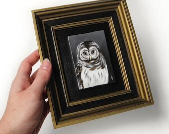 Miniature Owl painting -  brown owl - small original art - wildlife artwork - framed mini art - owl art