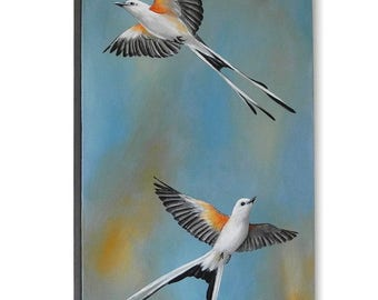 Scissortail Flycatcher painting - flying scissortail bird painting - Oklahoma state bird - birds in flight - sunrise sunset wildlife art