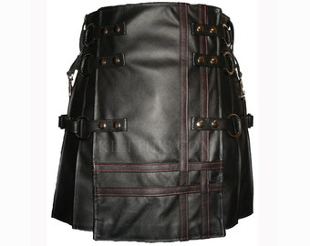 Interchangeable Badpiper Baddie Black Leather Kilt Leather Straps Red Highlight Double Cross Inside Pockets Adjustable Custom Fit