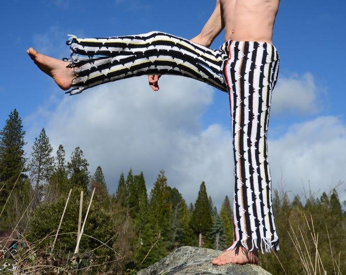 Crochet Pants Black and White Stripes M