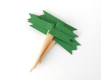 Cupcake Toppers, 12 Green Christmas Flags - Holiday, Decor, Party, Dessert, Paper, Wooden Picks, Dozen, December, Embellish, Grass, Kelly