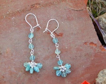 Sterling Silver and Natural Bright Blue Apatite Coin Earrings on Sterling Silver Kidney Wires, OOAK, One of a Kind