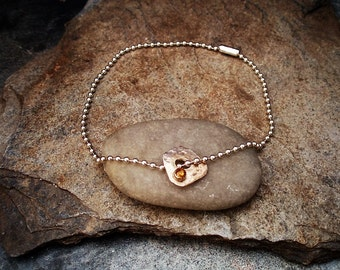 Handmade Sterling Silver Anklet With Citrine Charm